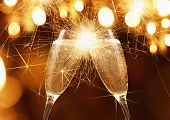 Glasses of champagne with sparklers