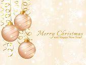 Greeting Card With Christmas Balls. Vector Illustration.