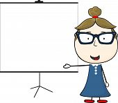 woman and blank flip chart