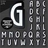 Alphabet set of symbols in the form of stickers. Artdeco normal black. File contains graphic styles available in Illustrator