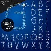 Vector christmas font characters of a shining stars. Artdeco light. File contains graphic styles available in Illustrator