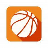 Flat icon with Symbol Basketball ball