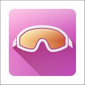 Flat icon with Classic old school snowboard ski goggles.