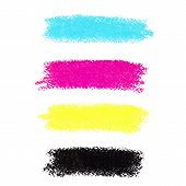 CMYK colors vector pastel crayon stains