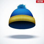 Knitted woolen cap. Winter seasonal blue hat. vector illustration