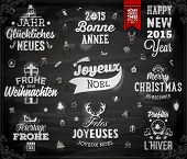 Christmas decoration collection | Set of calligraphic and typographic elements, frames, vintage label, ribbon, sticker, Santa and snowman, bird, deer antlers, balls. Chalkboard design. Chalk texture.