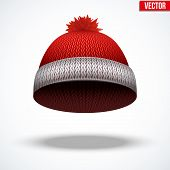 Knitted woolen red cap. Winter seasonal blue hat. vector illustration