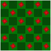 Poinsettia Flower in Green and Dark Green Chess Board