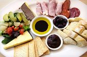 Ploughmans Lunch Antipasto Style Platter Including, Crusty Bread, Cheese, Cold Meat, Ham, Olives, Ol