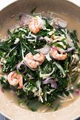 Thai Salad Mix With Vegetable Fern And Shrimp