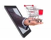Hand With Shopping Cart Coming From Tablet