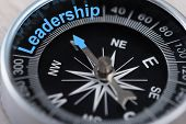 picture of indications  - Closeup photo of compass indicating Leadership concept - JPG