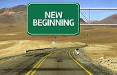 Amazing Road with a creative sign with the text - New Beginning