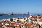 View Of Lisbon City Against Blue Sky