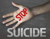 picture of suicide  - Creative composition with the message Stop Suicide - JPG