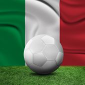 Soccer ball, field and the flag of Italy