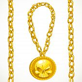 Piratical Treasures Gold Circuitry And Medallion With Skull Isolated On A White Background