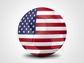 Soccer ball with United States Of America flag isolated on white