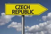 Concept for travel subject - Czech Republic yellow sign