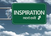 Inspiration, next exit creative road sign and clouds