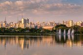 Amazing view of Sao Paulo city from Ibirapuera Park , Brazil. The Ibirapuera is one of Latin America largest city parks.