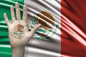 Amazing composition with a Hand with the Coat of Arms of Mexico and the Mexican flag as the background