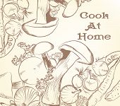 Illustration With Hand Drawn Mushrooms And Vegetables For Design