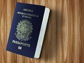 New Brazilian Passport isolated on wood table