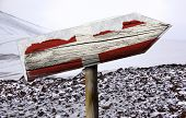 Denmark wooden sign with a snow background