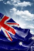 Amazing Flag of Australia with a beautiful blue sky as the background - Oceania