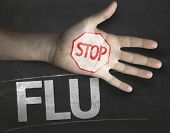 Educational and Creative composition with the message Stop Flu on the blackboard