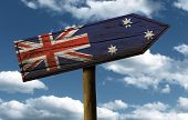 Australia flag wooden sign with a beautiful sky on background - Oceania