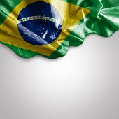 stock photo of waving  - Waving flag of Brazil - JPG