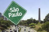 Sao Paulo Sign on huge Avenue, Brazil