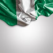 stock photo of nigeria  - Waving flag of Nigeria - JPG
