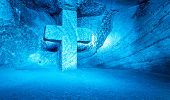 image of salt mine  - Blue Cross symbolizing the faith  - JPG
