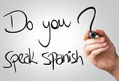 Do you speak Spanish hand writing with a black mark on a transparent board