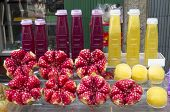 picture of stall  - Pomegranate and sweet lime juice on a srteet stall in Bangkok