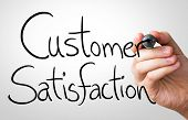 Customer Satisfaction hand writing with a black mark on a transparent board