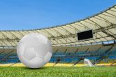 stock photo of brasilia  - Soccer ball on the soccer field - JPG