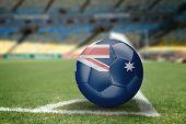 Australia soccer ball on the soccer field