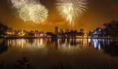 Fireworks in Ibirapuera Park in Sao Paulo, Brazil