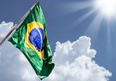 stock photo of bandeiras  - Brazilian flag on a beautiful day - JPG