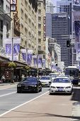 SYDNEY, AUSTRALIA - JAN 4: Traffic on George Street on January 4, 2014 in Sydney, Australia. George street is one of the most important streets in downtown of Sydney.