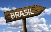 Brasil wooden sign with clouds as the background