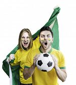 Brazilian couple celebrate on white background