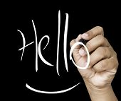 Hello hand writing with white mark on a transparent board