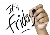 Its friday hand writing with black mark on a transparent board