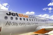 MELBOURNE, AUSTRALIA - CIRCA JAN 2014: Jetstar Airways aircraft in Melbourne airport. Jetstar Airways is an Australian low-cost airline headquartered in Melbourne, Australia.