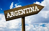 Argentina wooden sign on a beautiful day